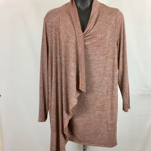 LOGO Lori Goldstein Drape Front Knit Cardigan 3X